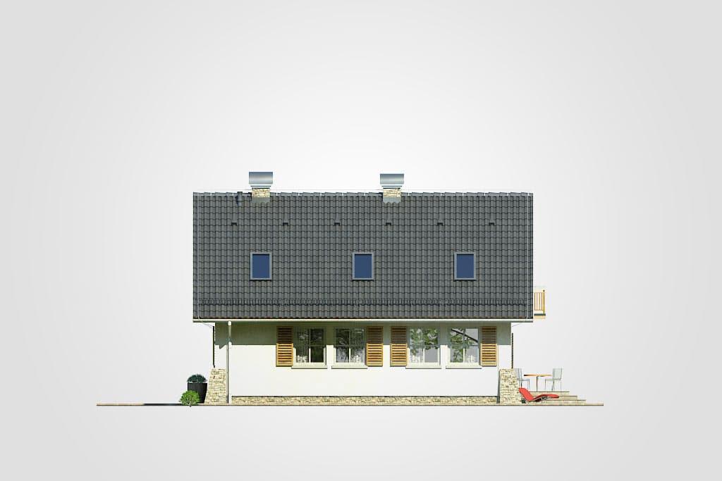 Фасад мансардного дома с террасой и балконом «КМ-69» - справа