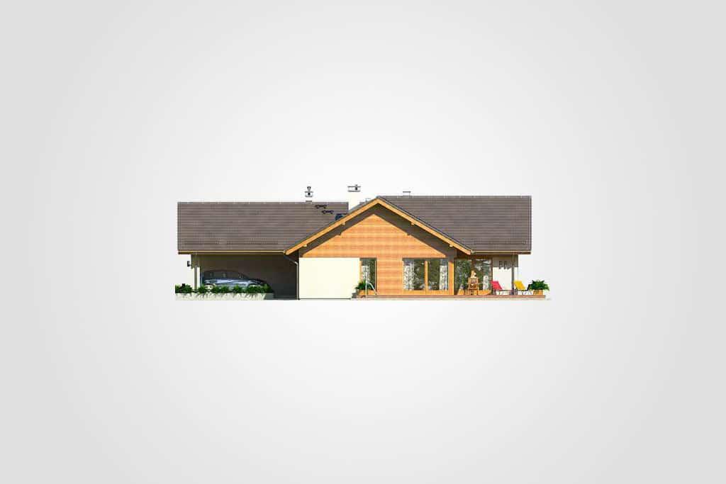Фасад одноэтажного дома с гаражом и террасой «КО-104» - спереди