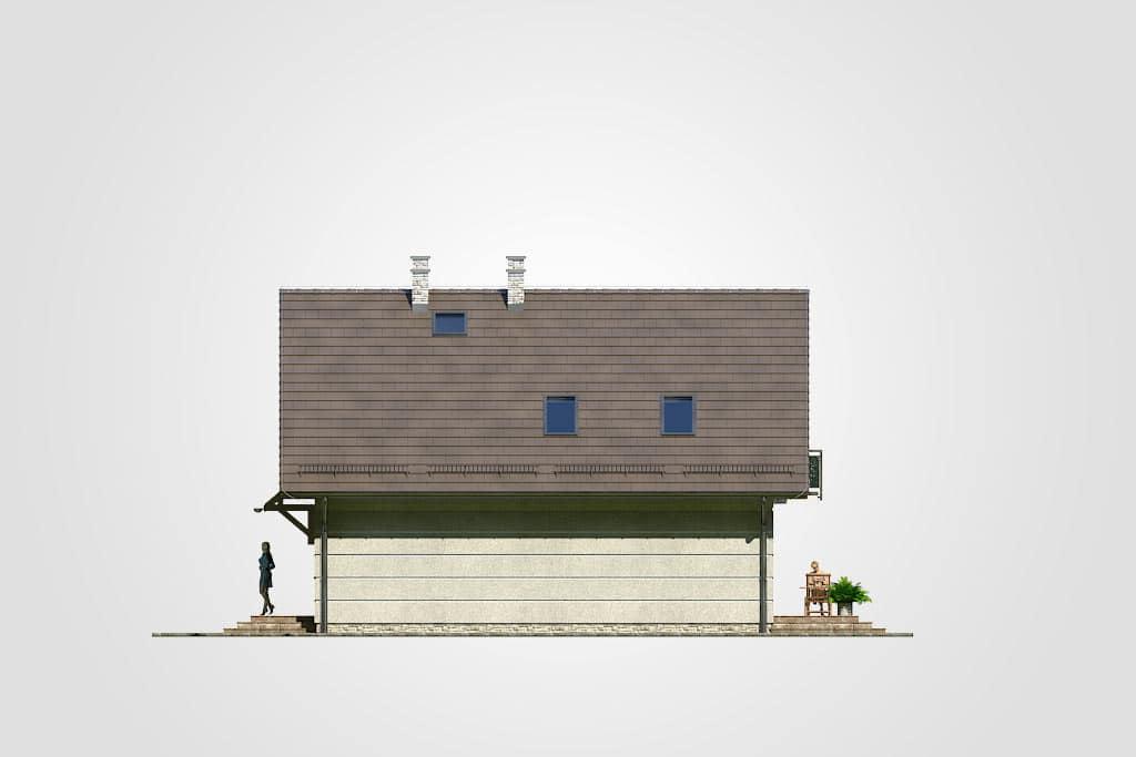Фасад мансардного дома с террасой и балконом «КМ-88» - справа