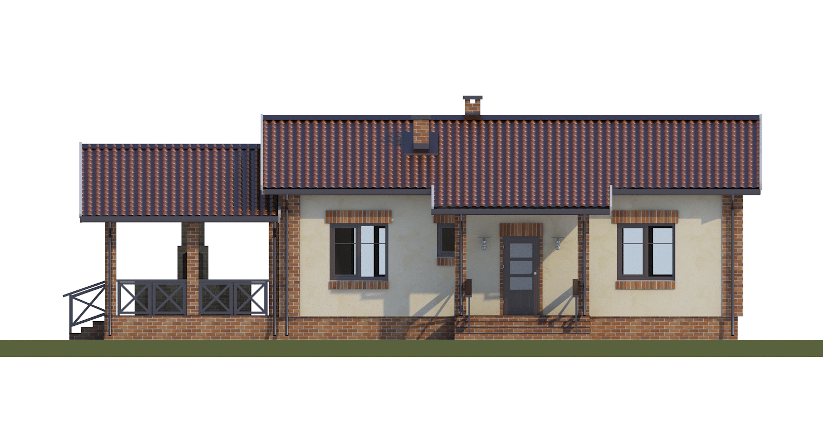 Фасад одноэтажного дома с террасой «КО-50» - спереди