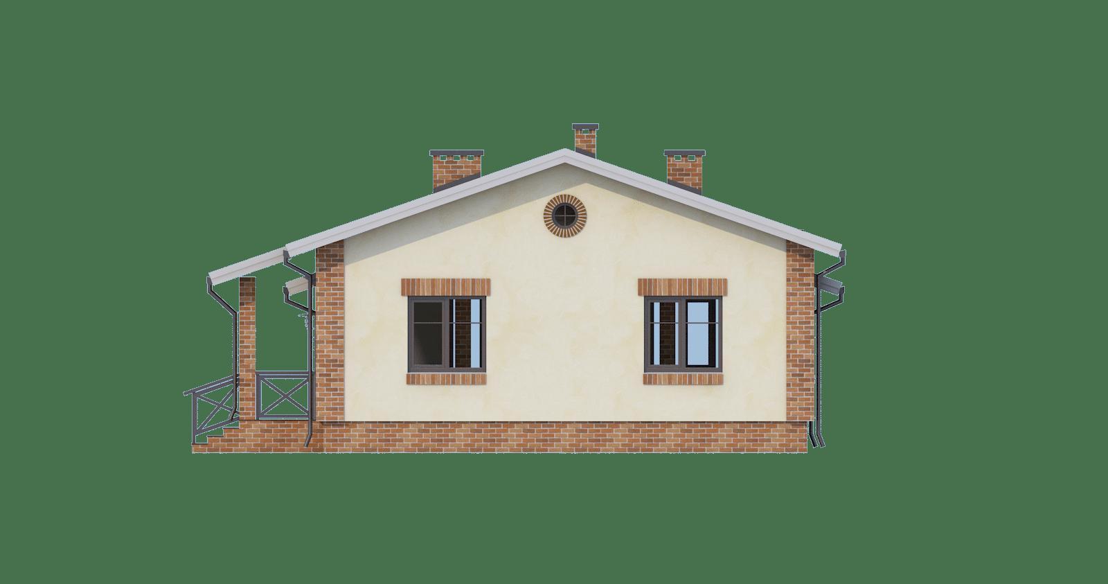 Фасад одноэтажного дома с террасой «КО-50» - справа