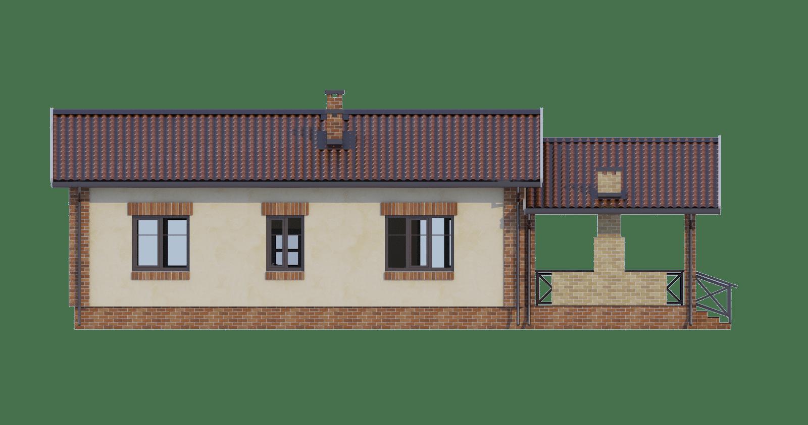 Фасад одноэтажного дома с террасой «КО-50» - сзади