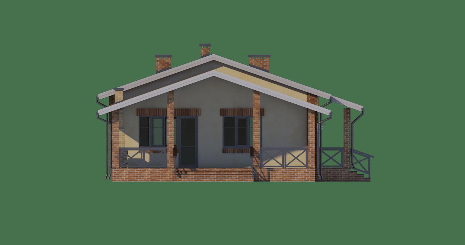 Фасад одноэтажного дома с террасой «КО-50» - слева