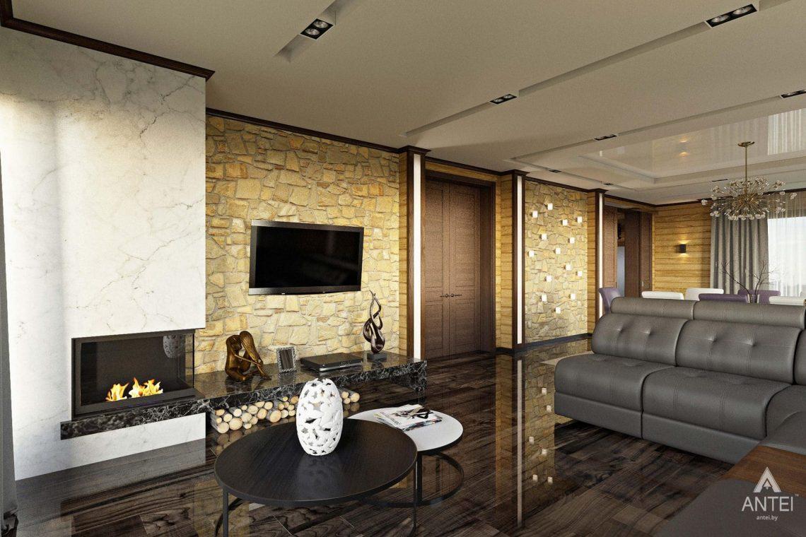 Дизайн интерьера загородного дома в Гомельском районе - гостиная фото №3