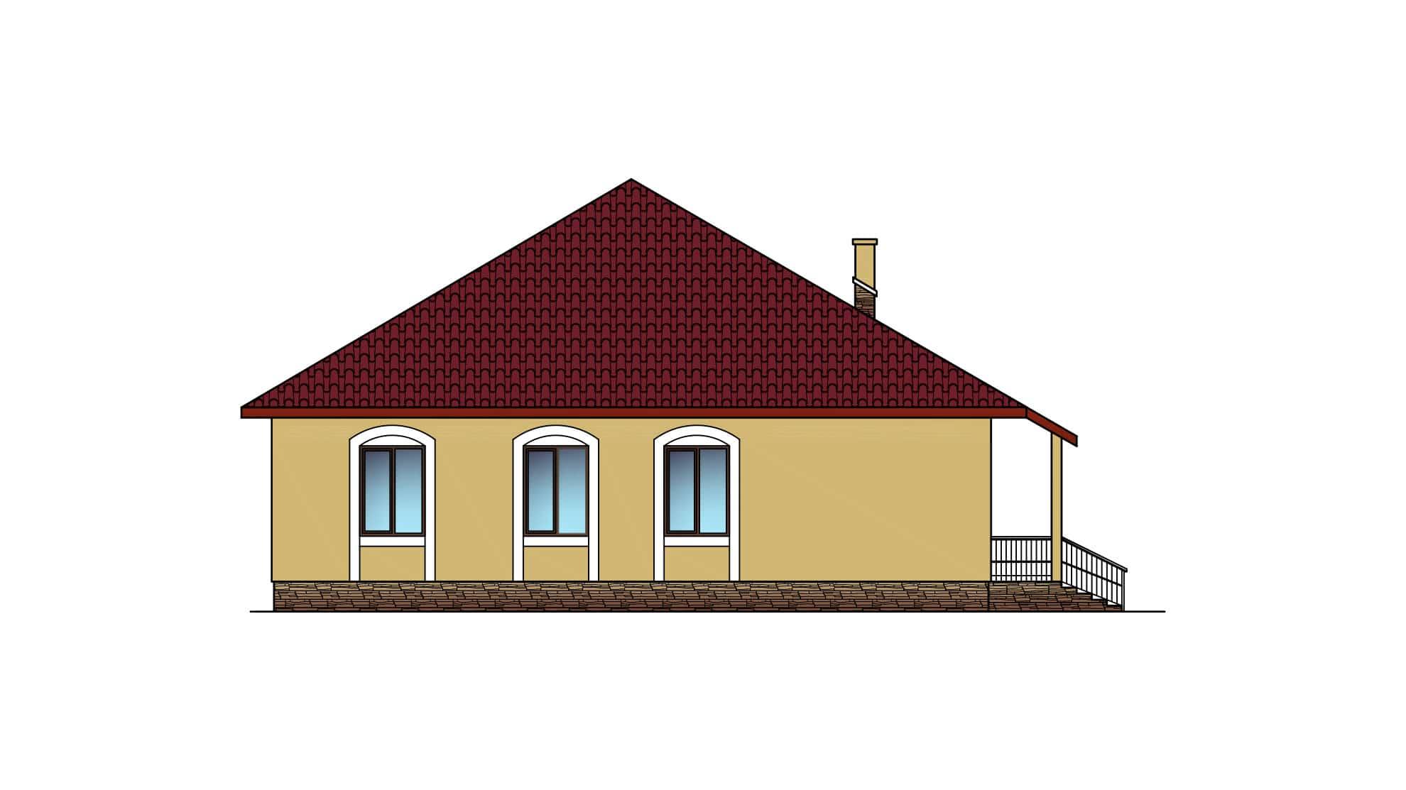 Фасад этажа одноэтажного дома «КО-32» - спереди