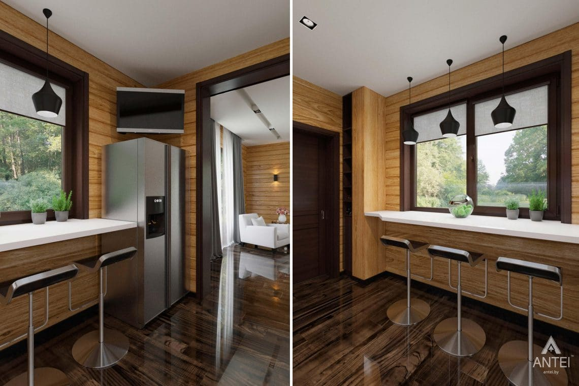 Дизайн интерьера загородного дома в Гомельском районе - кухня фото №1