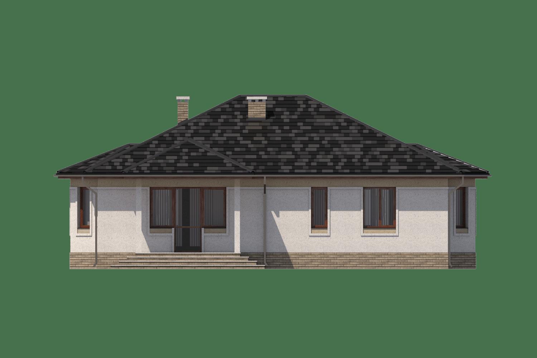 Фасад одноэтажного дома с террасой «КО-12» - сзади