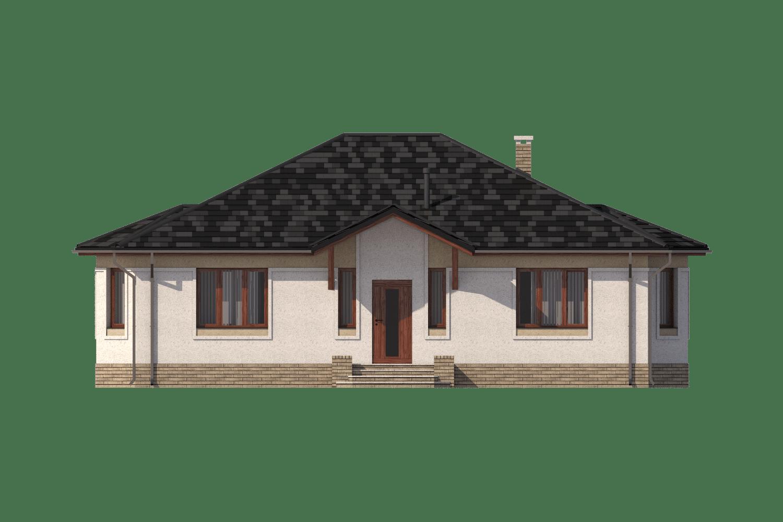Фасад одноэтажного дома с террасой «КО-12» - спереди