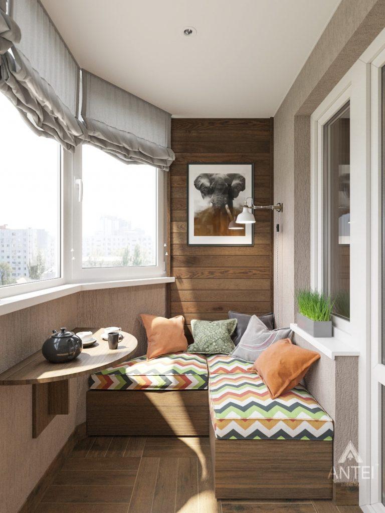 Дизайн интерьера двухкомнатной квартиры в Гомеле - балкон фото №1