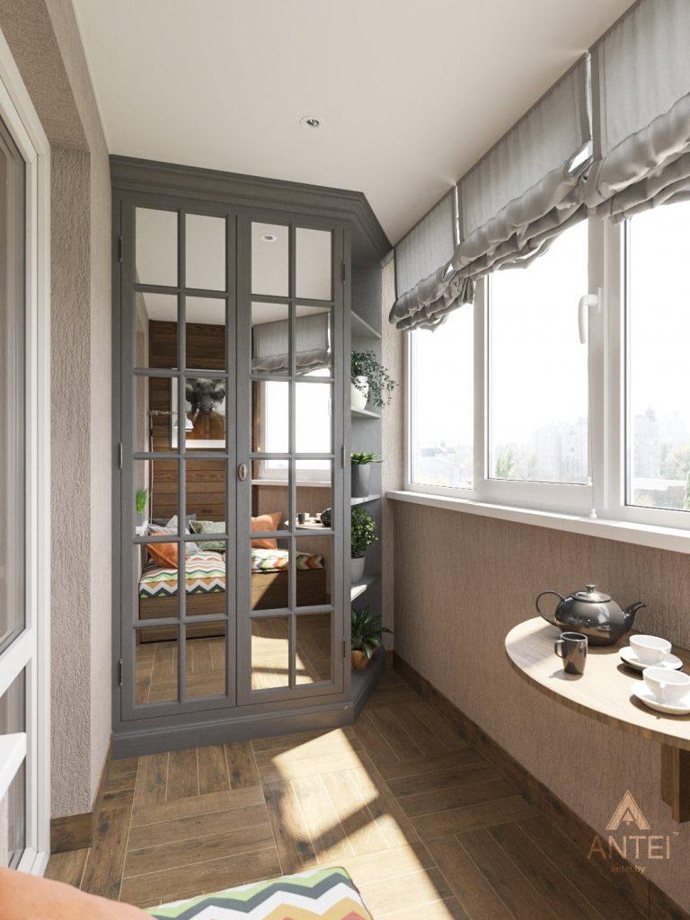 Дизайн интерьера двухкомнатной квартиры в Гомеле - балкон фото №2