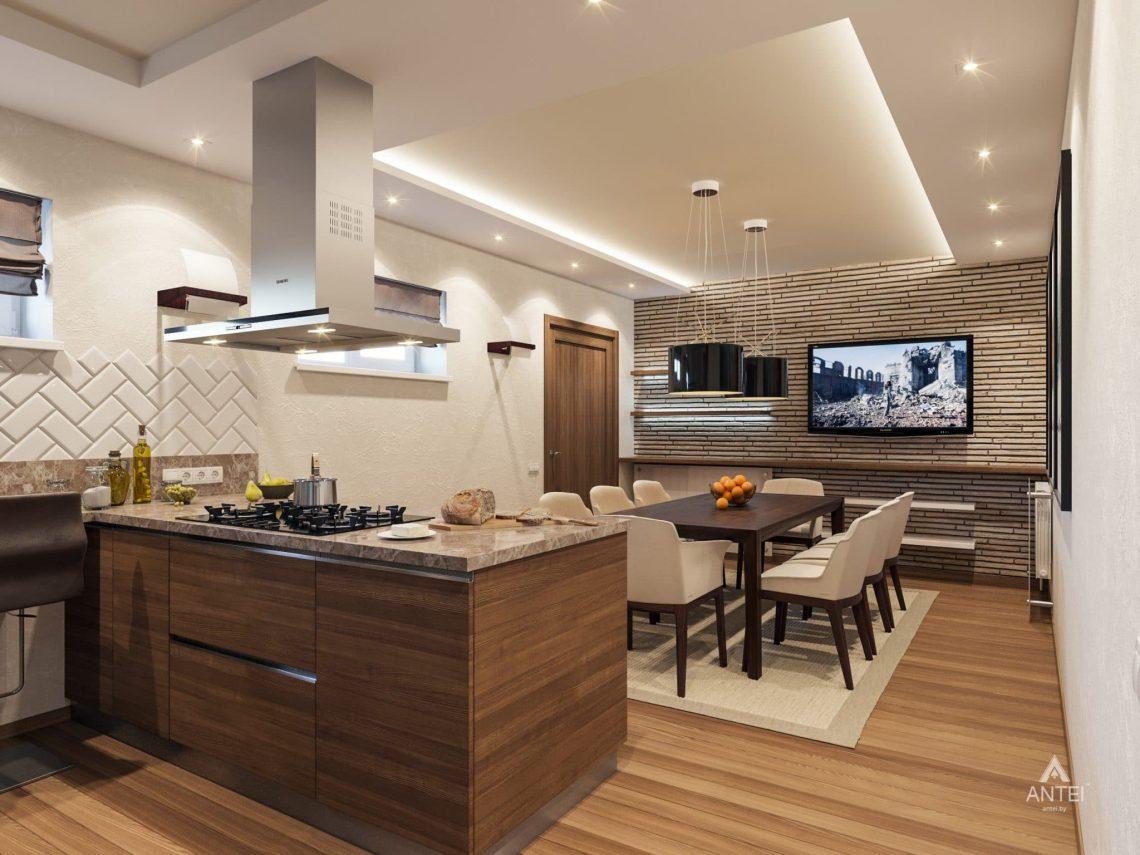 Дизайн интерьера кухни в цокольном этаже коттеджа в Гомеле - фото №1