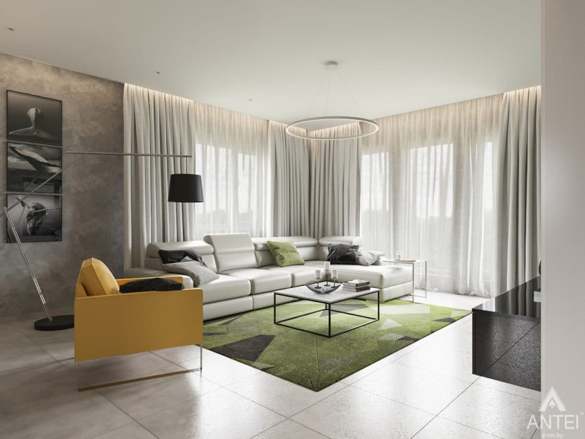 Дизайн интерьера загородного дома в Речице - гостиная фото №2