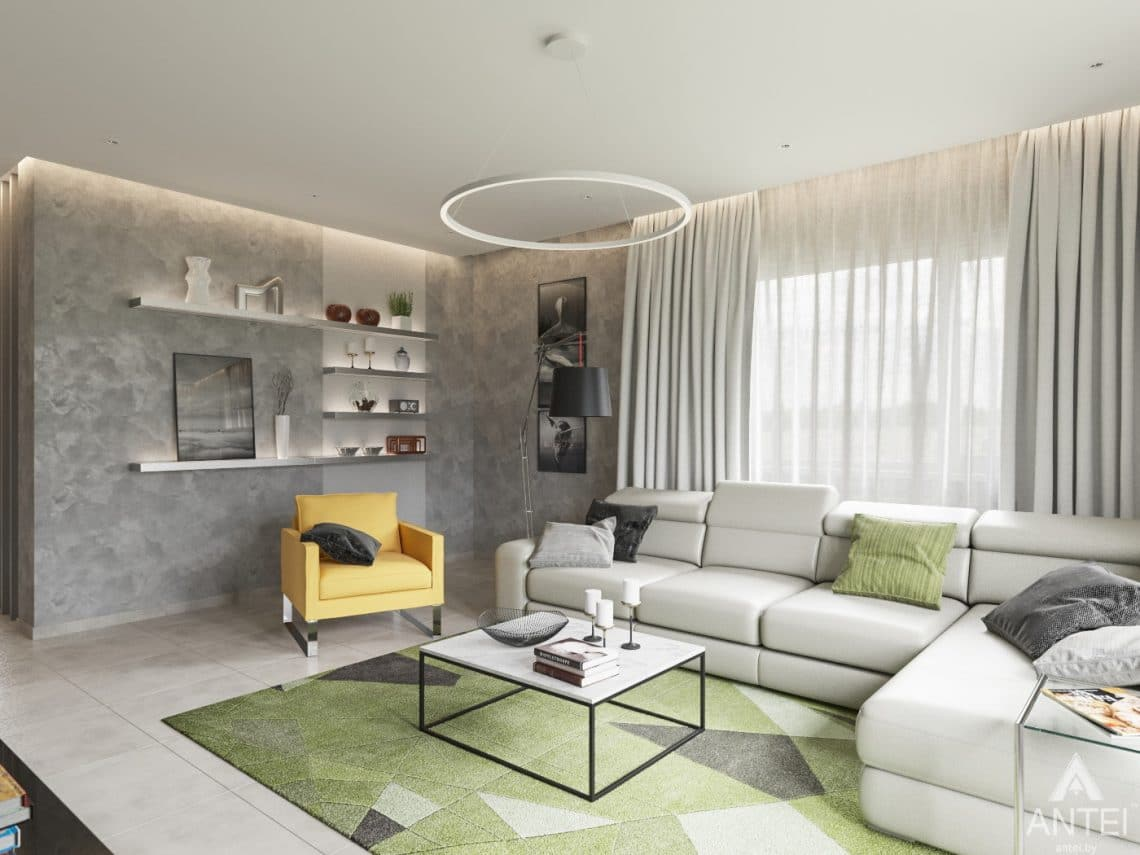 Дизайн интерьера загородного дома в Речице - гостиная фото №1