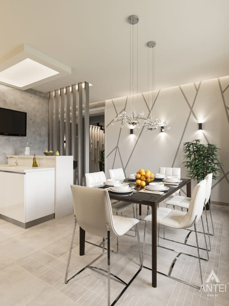 Дизайн интерьера загородного дома в Речице - кухня фото №2