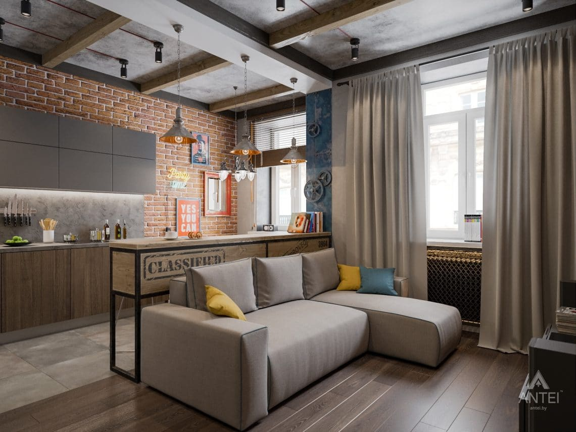 Дизайн интерьера квартиры в Гомель, пр. Ленина - кухня-гостиная фото №1