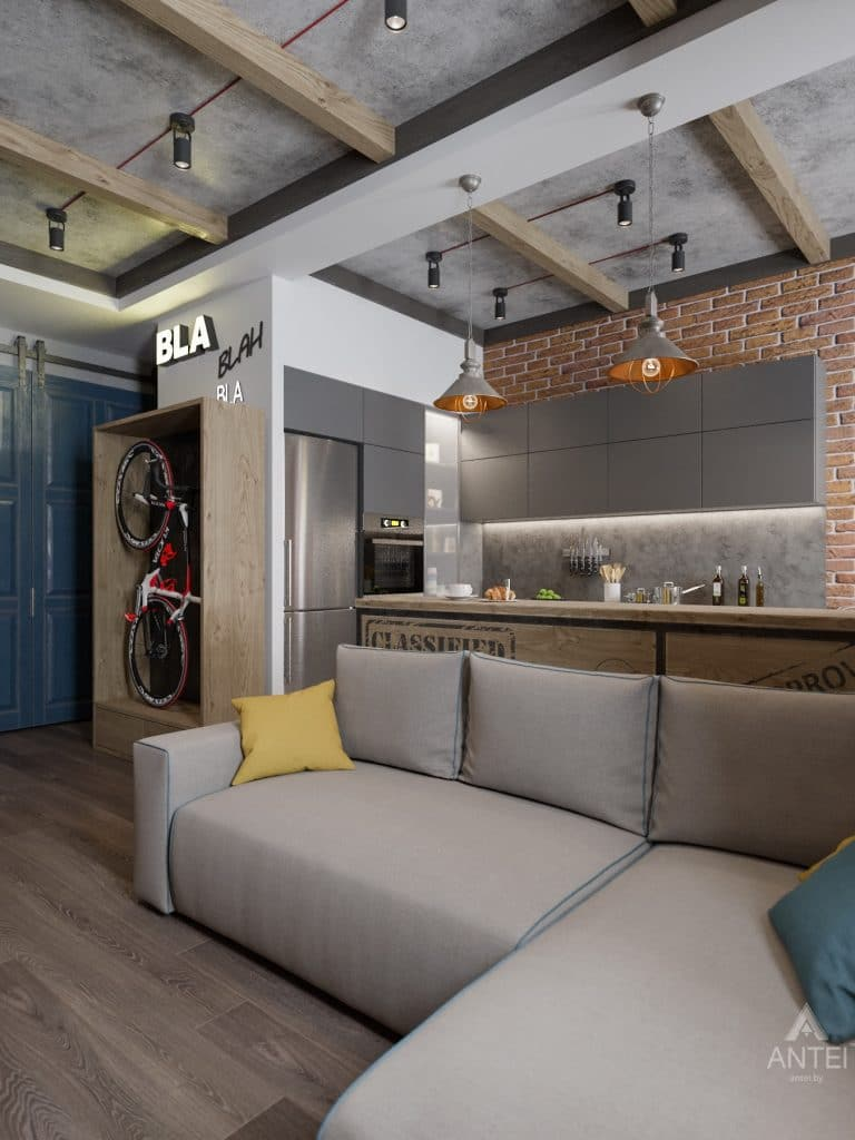 Дизайн интерьера квартиры в Гомель, пр. Ленина - кухня-гостиная фото №4