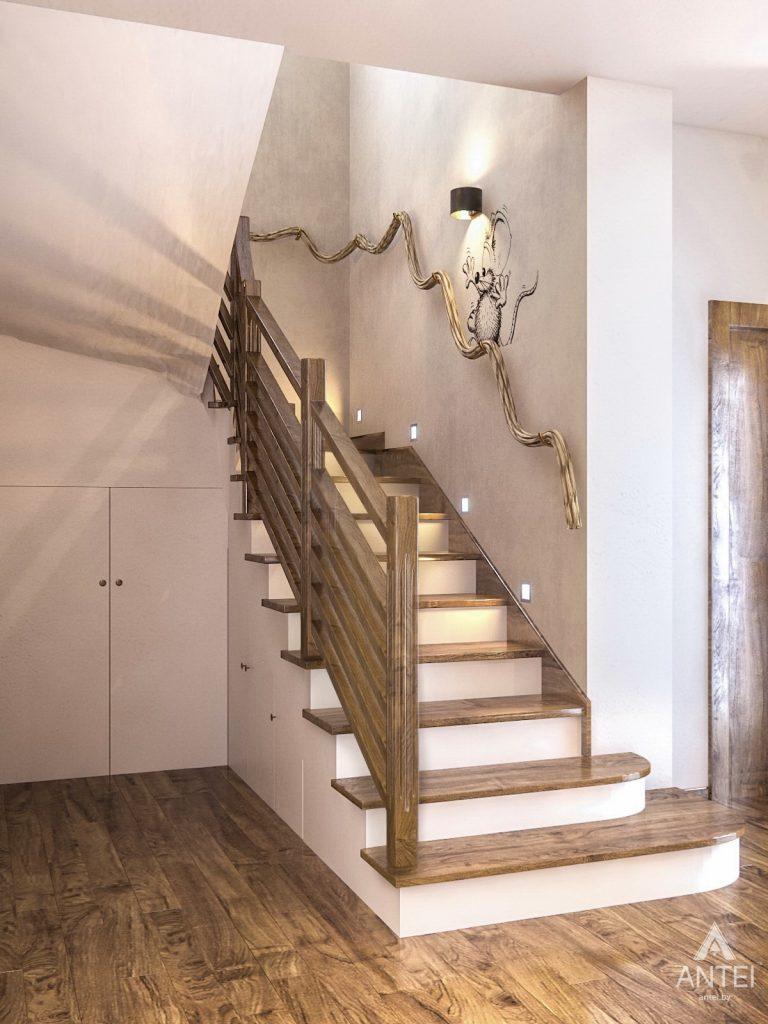 Дизайн интерьера загородного дома в Минском районе - лестница фото №1