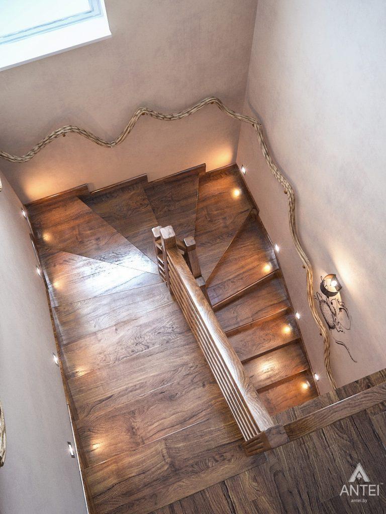 Дизайн интерьера загородного дома в Минском районе - лестница фото №2