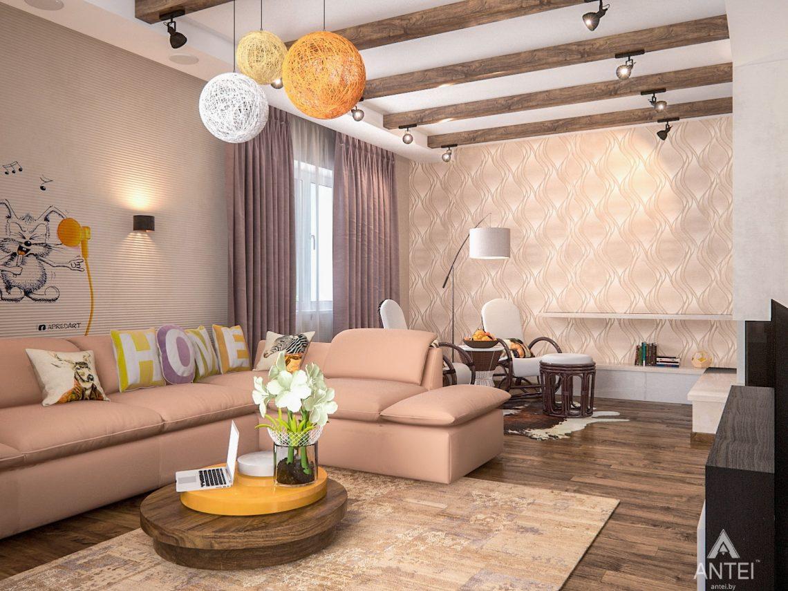 Дизайн интерьера загородного дома в Минском районе - гостиная фото №2