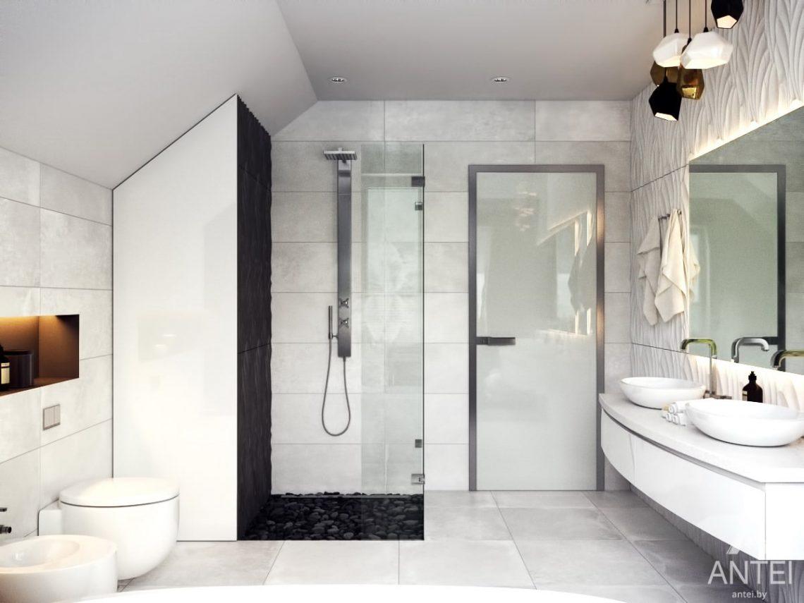 Дизайн интерьера коттеджа в Гомеле, Романовичи - ванная фото №2