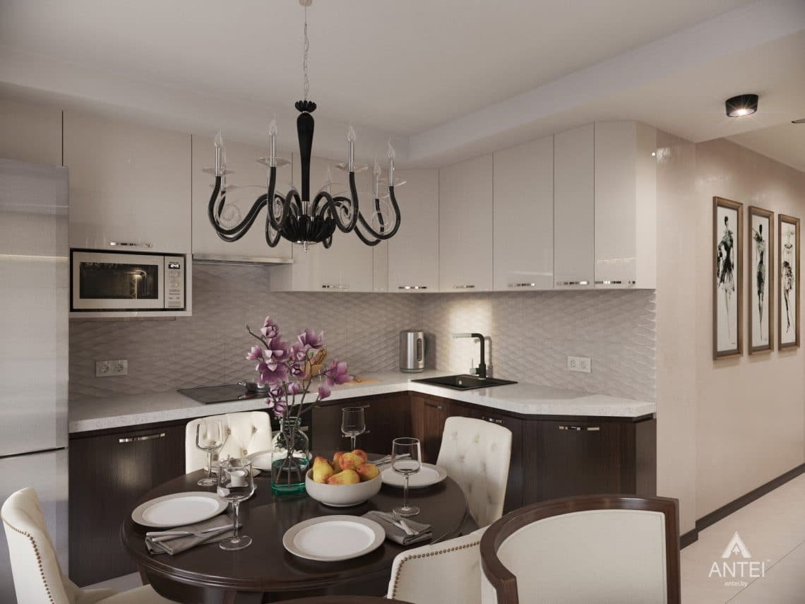 Дизайн интерьера 1-комнатной квартиры в Гомеле, ул. Пенязькова -кухня фото №1