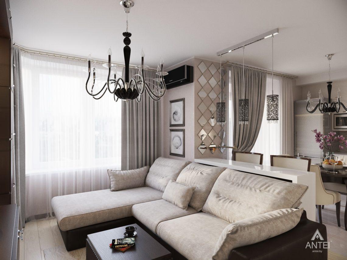Дизайн интерьера 1-комнатной квартиры в Гомеле, ул. Пенязькова -гостиная фото №3