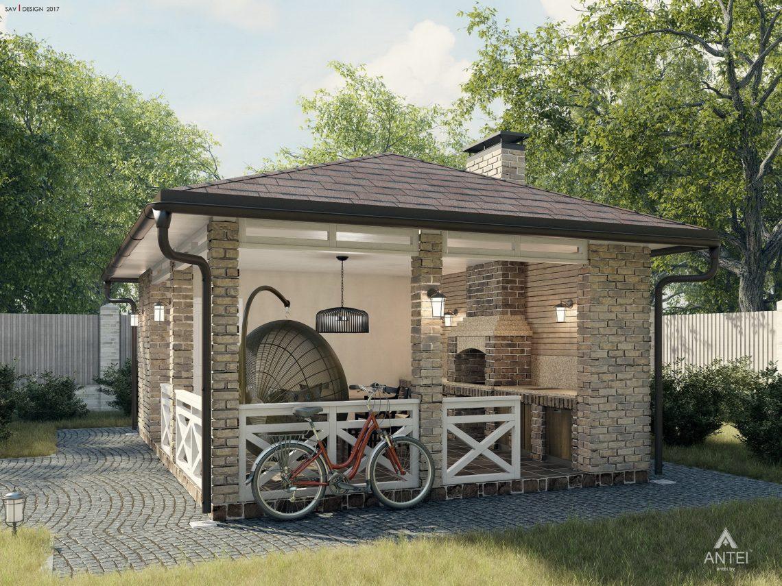 Дизайн фасадов дома с мансардой в Гомеле, п. Романовичи - беседка фото №3