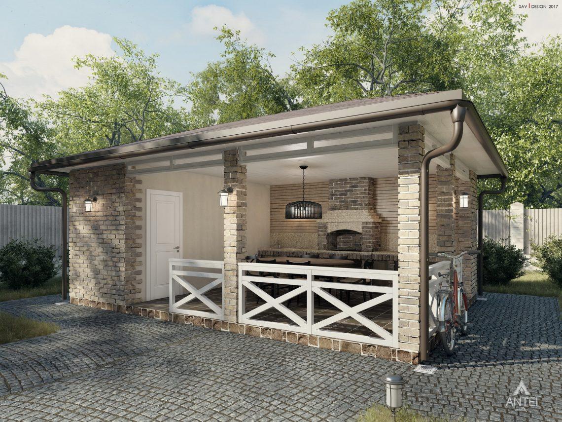 Дизайн фасадов дома с мансардой в Гомеле, п. Романовичи - беседка фото №1