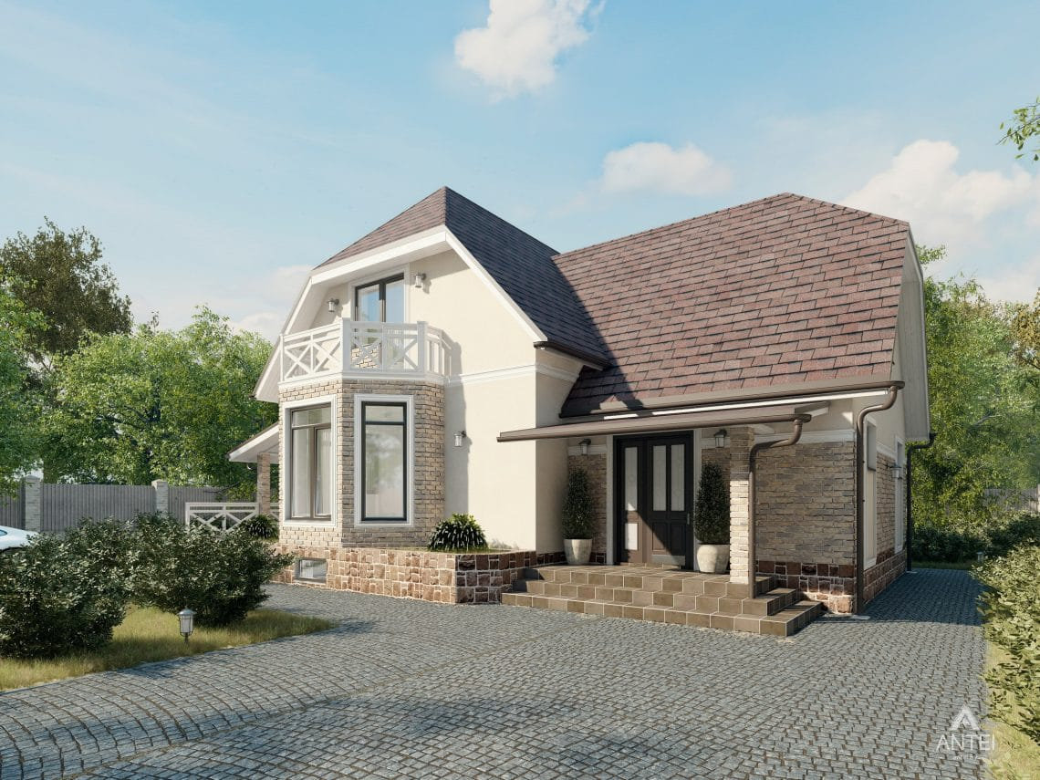 Дизайн фасадов дома с мансардой в Гомеле, п. Романовичи - вид спереди фото №1