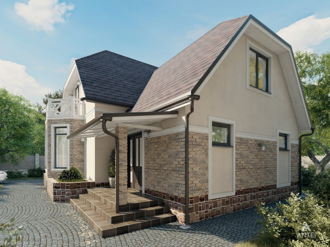 Дизайн фасадов дома с мансардой в Гомеле, п. Романовичи - вид справа