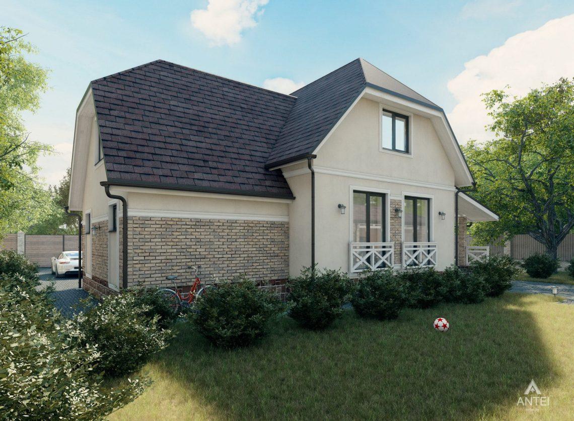 Дизайн фасадов дома с мансардой в Гомеле, п. Романовичи - вид слева фото №1