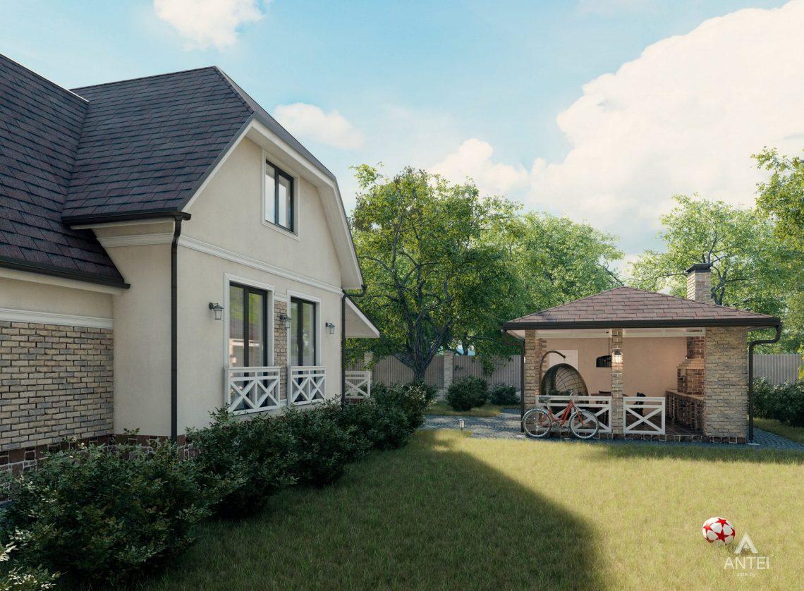 Дизайн фасадов дома с мансардой в Гомеле, п. Романовичи - вид слева фото №2