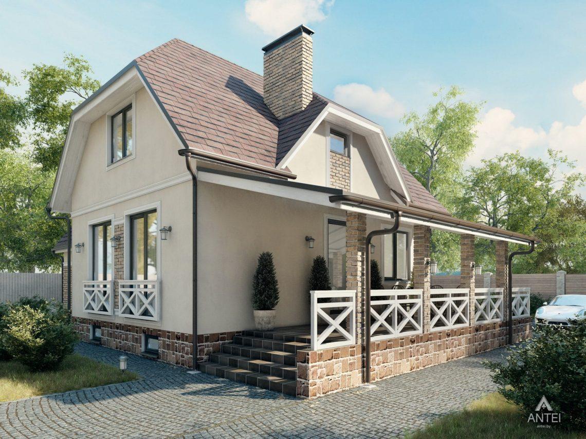 Дизайн фасадов дома с мансардой в Гомеле, п. Романовичи - вид сзади фото №1