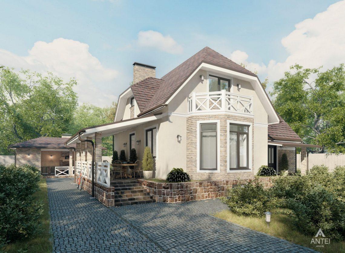 Дизайн фасадов дома с мансардой в Гомеле, п. Романовичи - вид сзади фото №2