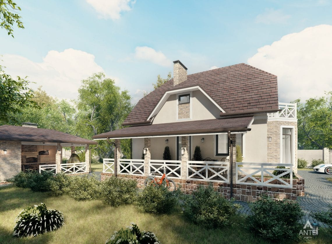 Дизайн фасадов дома с мансардой в Гомеле, п. Романовичи - вид сзади фото №3