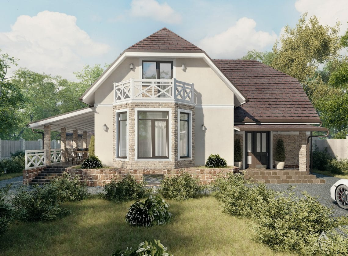 Дизайн фасадов дома с мансардой в Гомеле, п. Романовичи - вид спереди фото №2