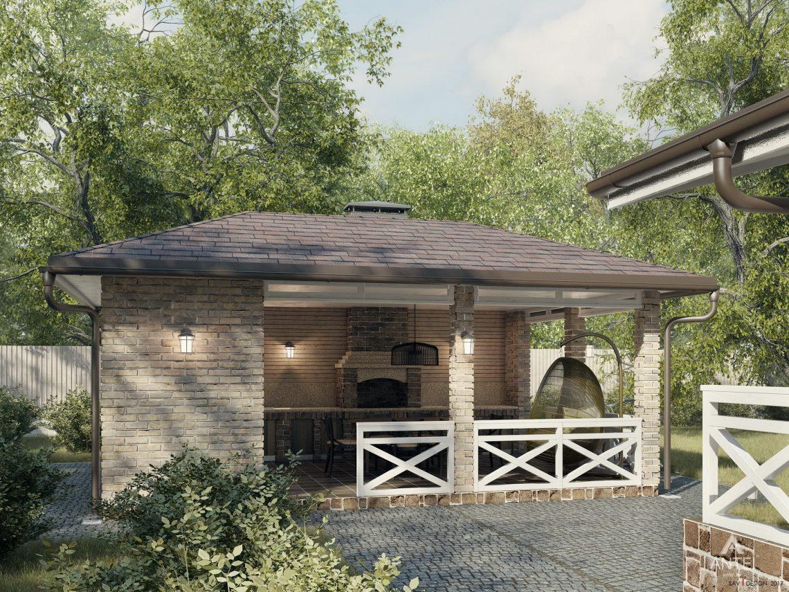 Дизайн фасадов дома с мансардой в Гомеле, п. Романовичи - беседка фото №2