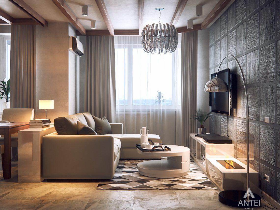 Дизайн интерьера 1-комнатной квартиры в Гомеле, ул. Ландышева - гостиная фото №2