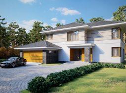 Проект двухэтажного дома с гаражом на 2 авто и террасой «КД-36»