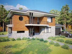 Проект двухэтажного дома с гаражом на 2 авто и террасой «КД-37»