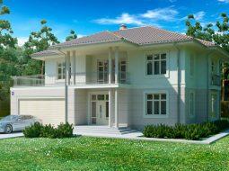 Проект двухэтажного дома с гаражом на 2 авто и террасой «КД-38»