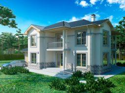 Проект двухэтажного дома с гаражом и террасой «КД-39»