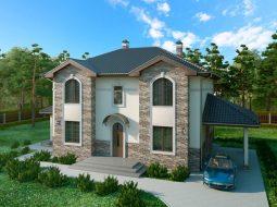 Проект двухэтажного дома с навесом для авто и террасой «КД-41»