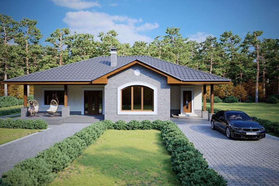 Проект одноэтажного дома с навесом для авто и террасой «КО-124» - спереди
