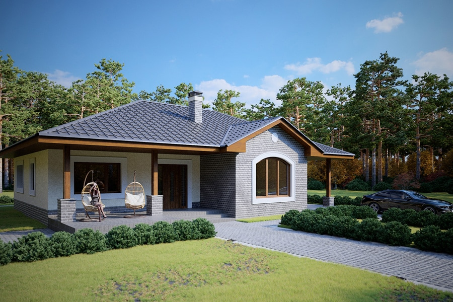 Проект одноэтажного дома с навесом для авто и террасой «КО-124» - фото №2