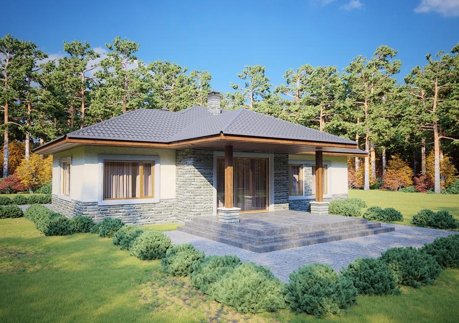 Проект одноэтажного дома с навесом для авто и террасой «КО-125» - фото №2