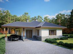 Проект одноэтажного дома с навесом для авто и террасой «КО-125»