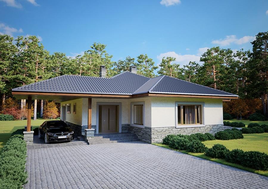 Проект одноэтажного дома с навесом для авто и террасой «КО-125» - спереди