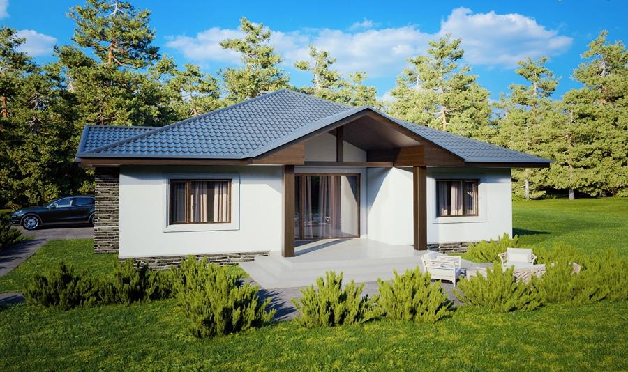 Проект одноэтажного дома с гаражом и террасой «КО-126» - фото №2