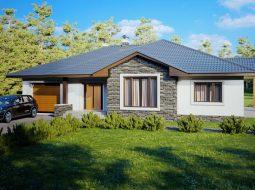Проект одноэтажного дома с гаражом и террасой «КО-126»